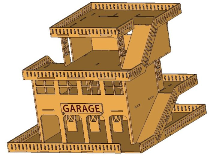 Чертеж парковка из фанеры 3 мм №1