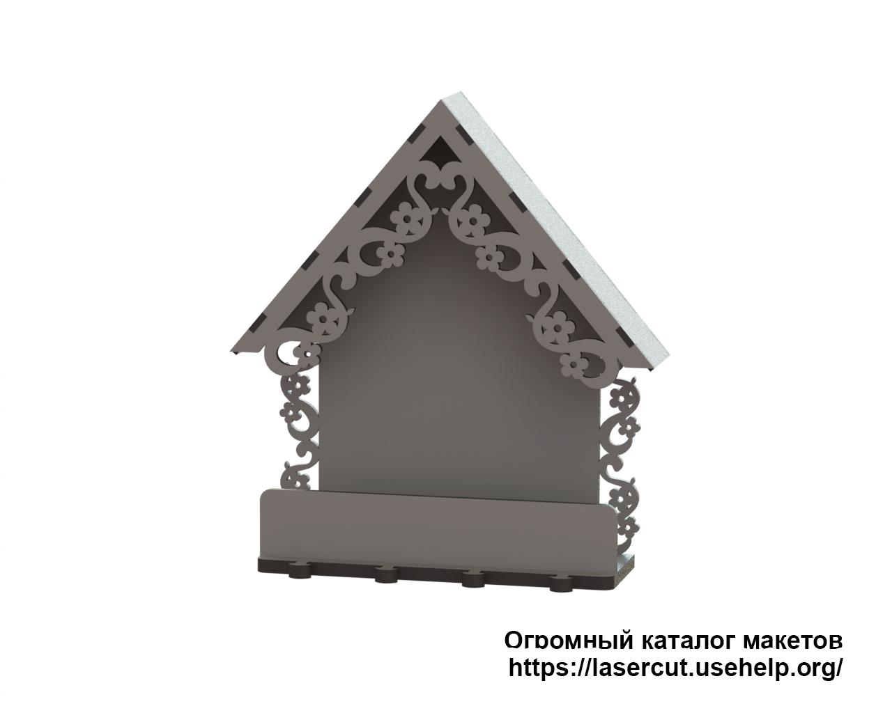 Макет ключницы Домик с полочкой из фанеры