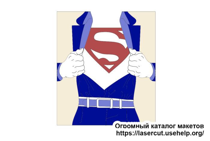 Макет открытки из фанеры - Супермен