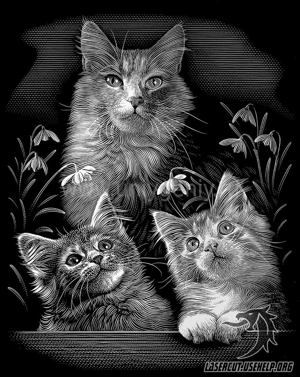 Макет Гравировка Кошка с котятами из фанеры - LaserCut