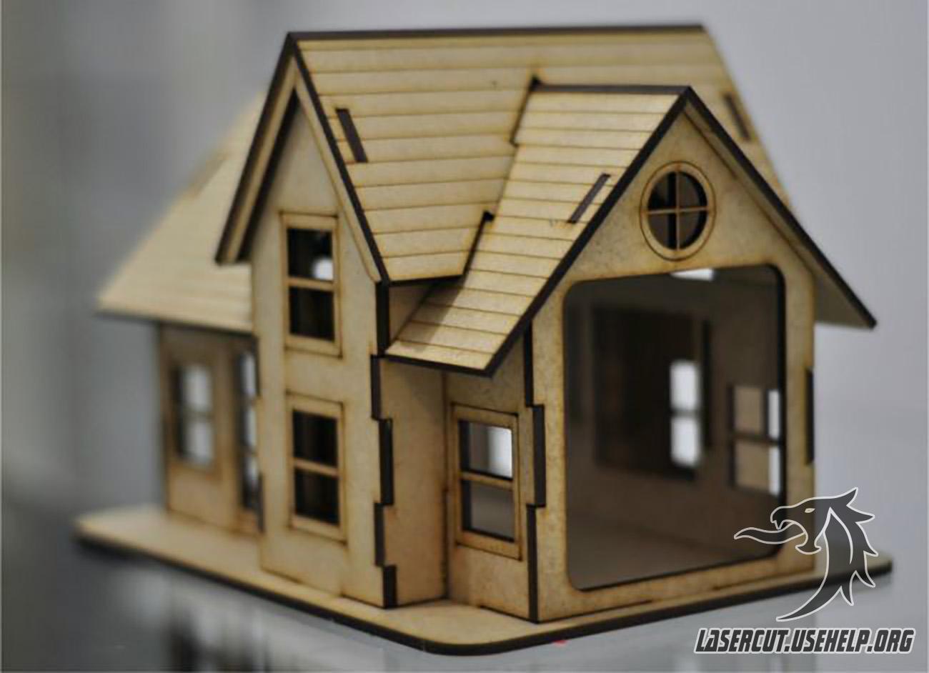 Макет Небольшой стильный домик из фанеры