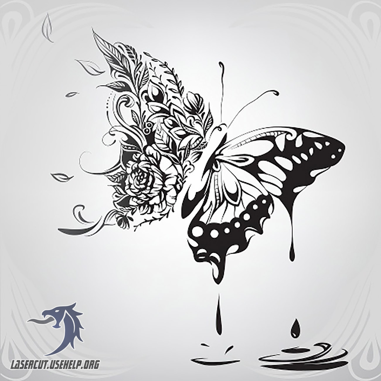 Макет Гравировка Дизайнерская бабочка из фанеры