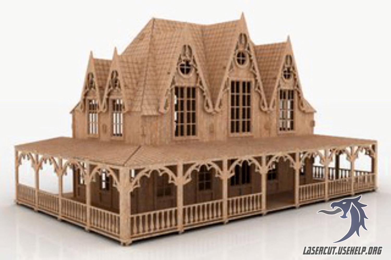 Макет Кукольный дом большая вилла из фанеры