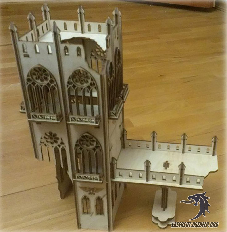 Макет Разрушенная башня из фанеры