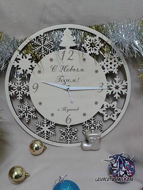 Макет Часы Новогодние из фанеры