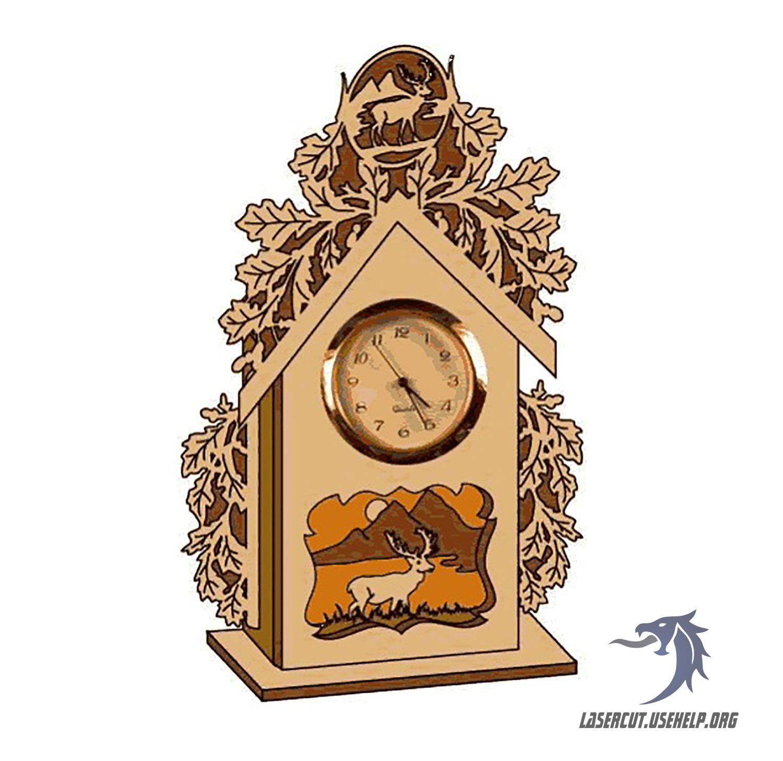 Макет Часы настольные с оленем из фанеры