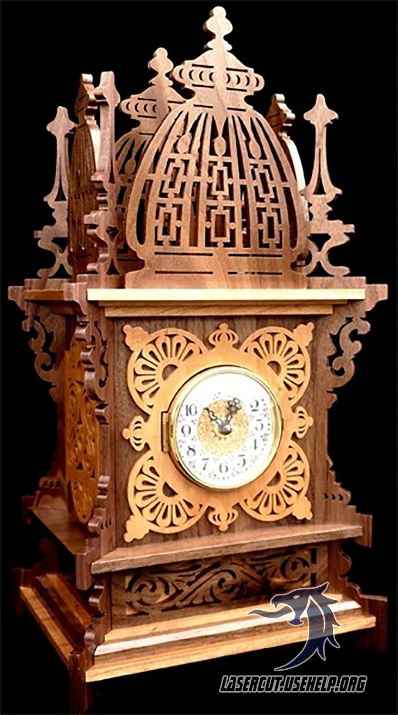 Макет настольные часы цветок из фанеры