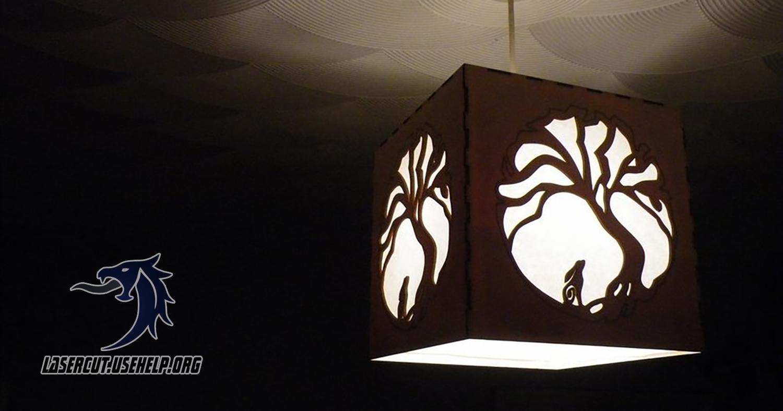 Макет Люстра - куб с деревом из фанеры
