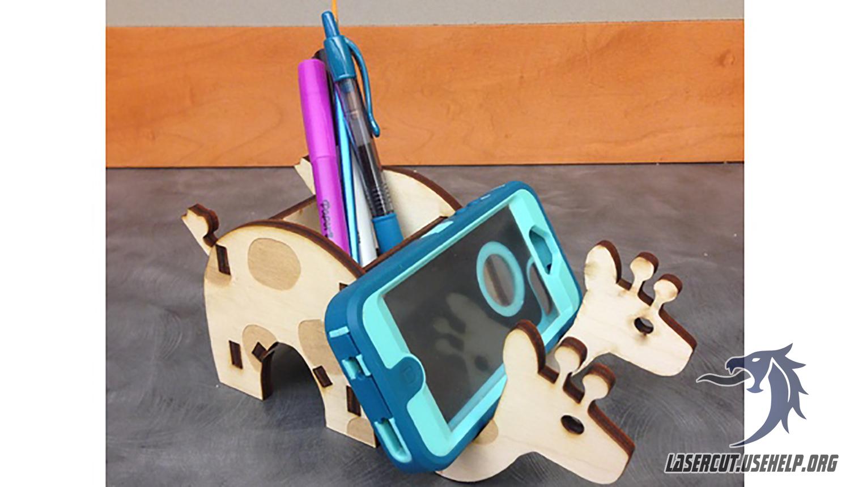 Макет Подставка- под телефон - оленёнок из фанеры