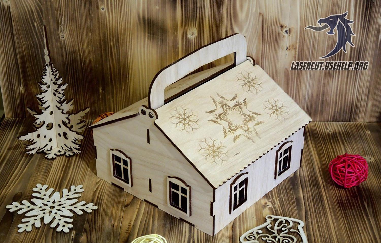 Макет домик - упаковка новогодняя 3 из фанеры