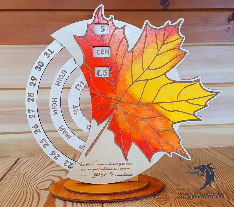 Макет вечный календарь Клен из фанеры