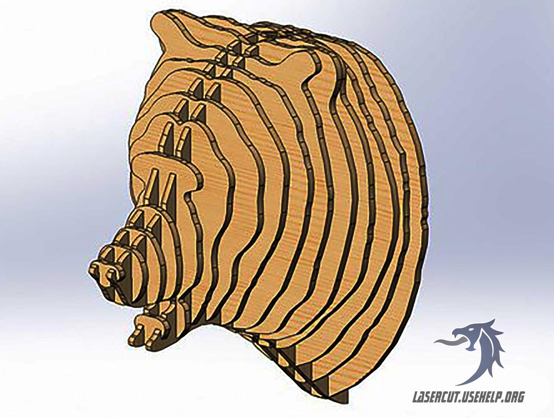 Макет Объёмная голова медведя №1