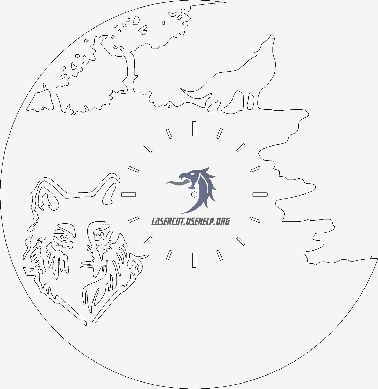 Макет заготовка для часов Волк