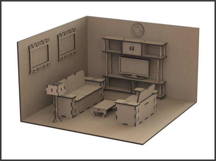 Чертеж кукольный игровой уголок с мебелью - 4 вида